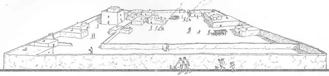 "Artist's depiction of the Casa Grande (""Great House"") compound as it might have looked in 1350 C.E./A.D. The ancient Sonoran Desert people abandoned the site around 1450 C.E./A.D. (Source: NPS)"