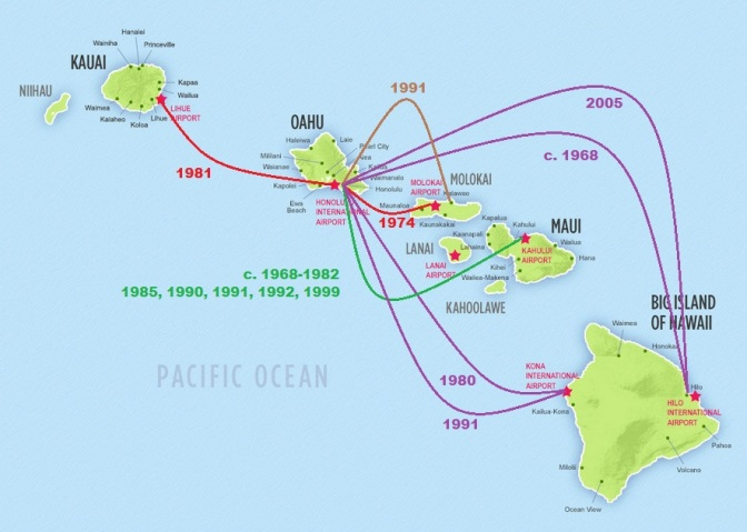 The Hawaiian Islands comprise eight major islands (seven are occupied) as well as numerous unoccupied islets, atolls and submerged seamounts, stretching 1,500 miles (2,400 kms).