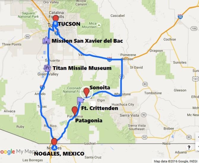 Map-TucsconToNogalesMexico