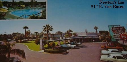 Old postcard of Newton's Inn Motor Hotel in Phoenix, Arizona. Note the prominent swimming pool in the picture.