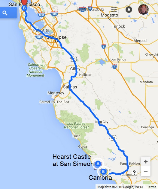 Map-Cambria to SanSimeon to SF