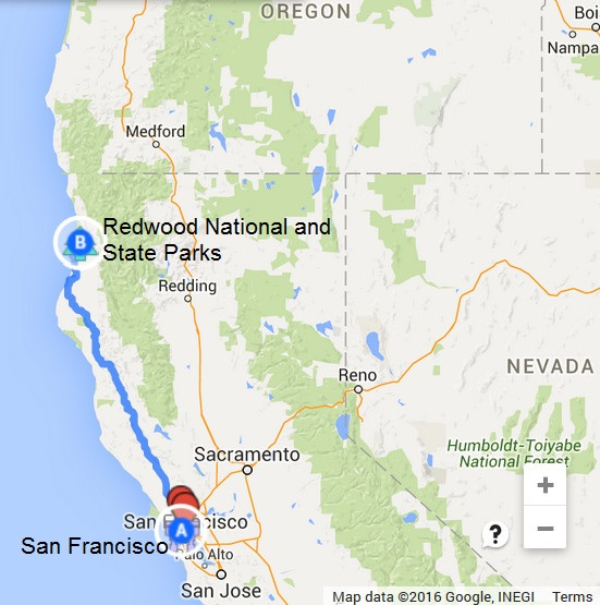 Map-San Francisco-Redwood Natl Forest