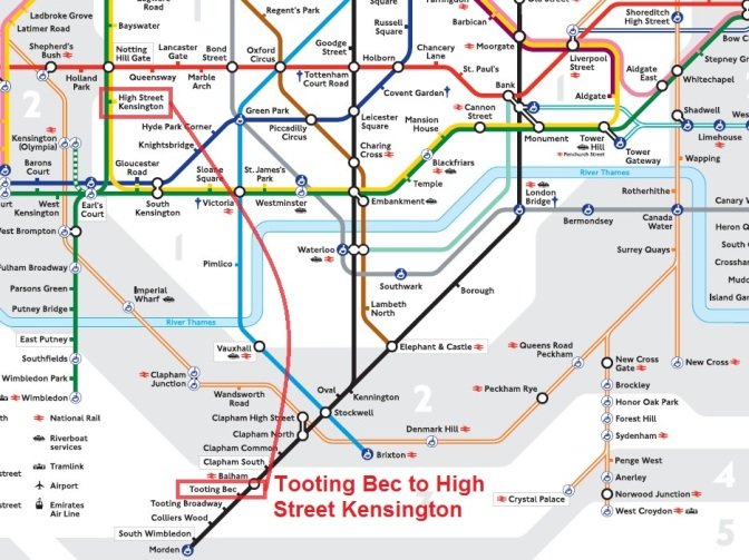 Tooting Bec is a cool name. However, there is no direct connection between Tooting Bec and High Street Kensington.