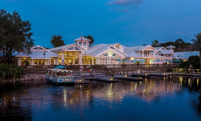 Rear view of the Hospitality House at Disney's Old Key West Resort. The watercraft transports you to Disney Springs about every 20 minutes. (Photo Credit: EasyWDW.com)