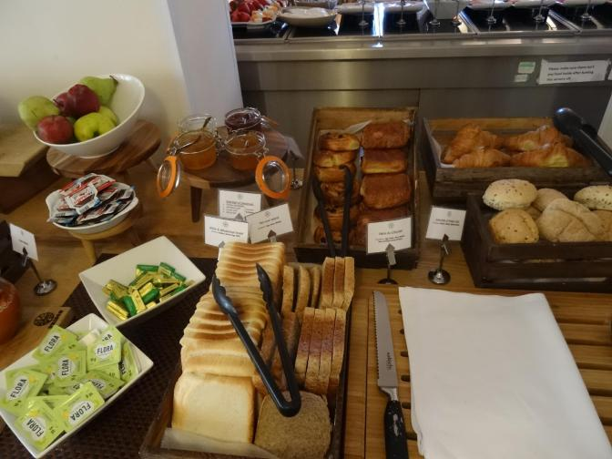 From the bakery: Pain au chocolat, croissants, bread rolls, pain au raisins, white and wholemeal bread with marmalades, jams, jellies, butter, nutella.