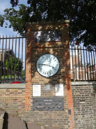 The Shepherd 24-hour Gate Clock installed in 1852. The clock always shows Greenwich Meant Time (GMT)