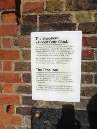 Explanation of the red time ball and the Shepherd 24-hour Gate Clock