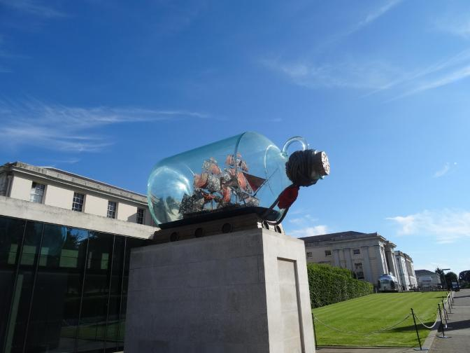 This must be the largest ship-in-a-bottle anywhere. It marks the entrance to the National Maritime Museum.