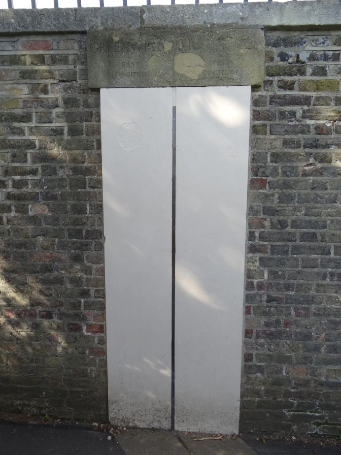 Greenwich Prime Meridian marker just beyond the lower gate.